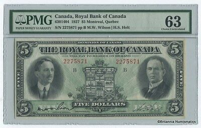 ROYAL BANK OF CANADA 1927 $5. Wilson / Holt PMG Choice Unc-63  Inv #1285