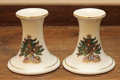 Vintage Pair of Christmas Candle Holders - Ceramic with X-mas Tree - Japan GVC