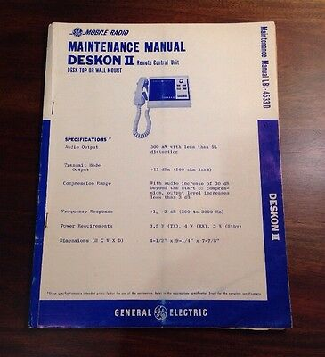 GE Mobile Radio Maintenance Manual LBI-4533D for DESKON II Remote Control Unit