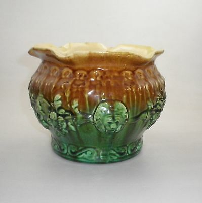 Bendigo Pottery Majolica Jardiniere Decorated With Floral Sprays And Lion Heads
