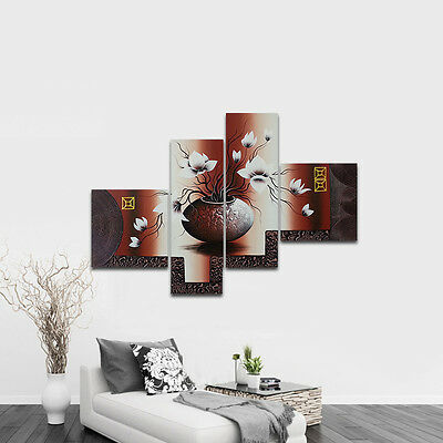 Original Hand Paint Canvas Oil Painting Wall Art Brown Floral Abstract Home Deco