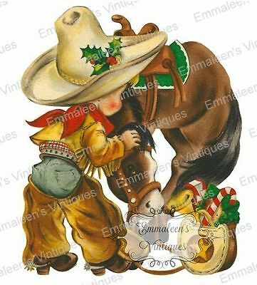 Vintage Image Christmas Little Boy Cowboy and Horse Waterslide Decals CHR246