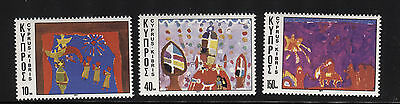 Cyprus 1977 Christmas.  A Set Of Three Mnh Stamps.