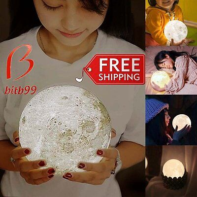 Dimmable 3D Print USB LED Glow Moon Night Light Moonlight Table Desk Lamp Gift A