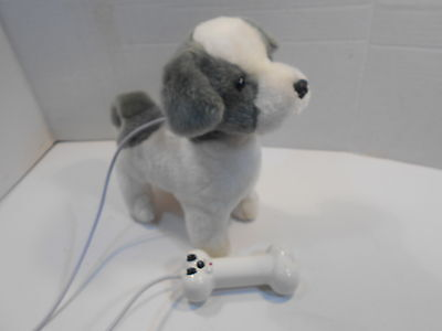 "Walking / Barking Puppy Dog 10"" Battery Operated Plush Toy Bone Controller WORKS"