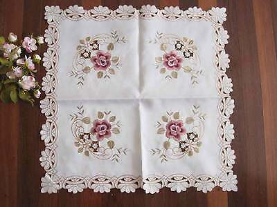 Dainty Pink Flower Embroidery Cutwork Ivory Table Topper 57cm