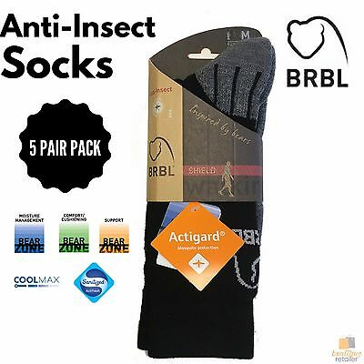 5 Pairs BRBL Anti Insect Hiking Socks Camping Protection Anti Bacterial BULK