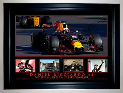 Daniel Ricciardo 2017 Azerbaijan Gp Red Bull Signed Photo Collage Print/framed