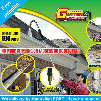 Water Fed Pole Flusher Gutter  Drain Drainage Cleaner  Extendable 180cm