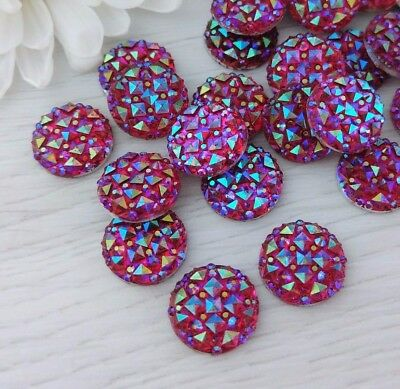 10 Pcs Red Sparkle Resin Cabs 12mm Iridescent Cabochons  FBC109