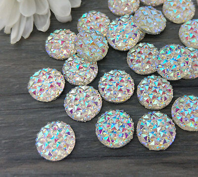 12mm AB Rainbow Iridescent Cabochons 10 Pcs Craft and Earring Cabs  FBC113