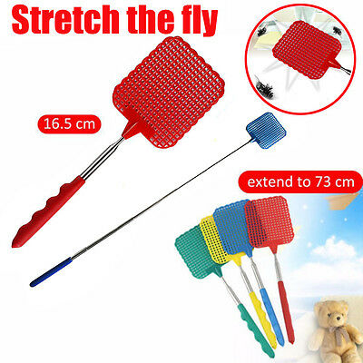 Up to 73cm Telescopic Extendable Fly Swatter Prevent Pest Plastic Mosquito Tool