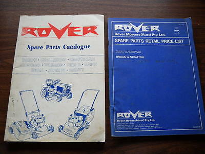 Lot of 2 Rover Mower Spare Parts Catalogues Retail Price List 1970s 1980s