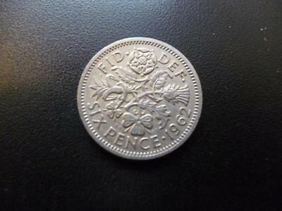 1962 English Sixpence Coin In Good Used Condition, 1962 Sixpence Coin Shown Sent