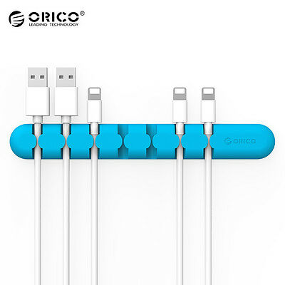 Blue ORICO CBS7 Desktop Cable Organizer Silicone Charger Wire Holder Clip