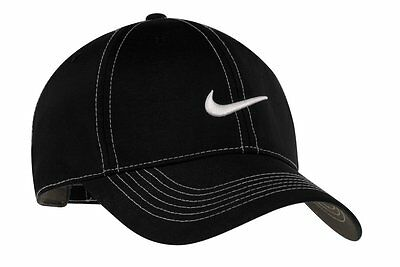New Nike Golf Hat-Black-With-White-Stitch Hats -Adjustable-Swoosh Baseball Cap