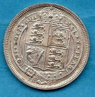 1887 Silver Sixpence Coin. Queen Victoria Jubilee Head Tanner. Lovely Condition.