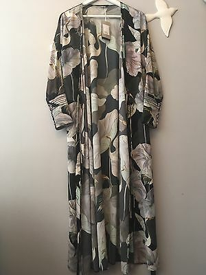 ZARA New Oriental Floral Kimono Robe Dress Size S Uk 8/10 Genuine Zara