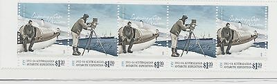 2014 AAT 1911-14 Aust Antarctic Expedition $1.20 X5 se-tenant strip MNH FREE P&H