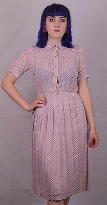 Genuine Vintage 80's Does 40's Cute Pretty Checked Print Dress Size 8 To 10