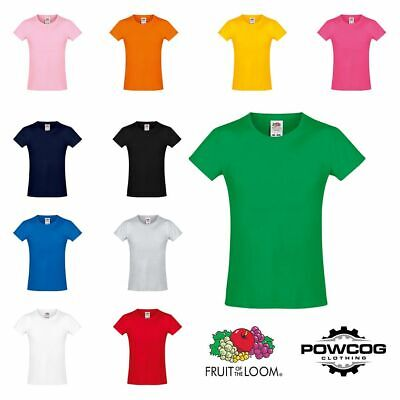 FOTL Fruit of the Loom Girl's Softspun T-Shirt Top Kids Tee Shirt Clothing Plain