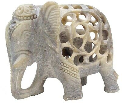 "Mother Elephant w/Baby - 5"" Decor Statue Hand-Carved Stone Art Figurine"