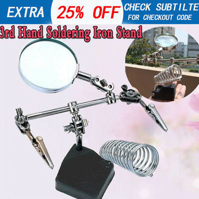 3rd Hand Soldering Iron Stand Holder Station Magnifier Helping Tool Welding NEW