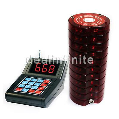10 Restaurant Coaster Pager Guest Call Wireless Paging Queuing Calling System CA