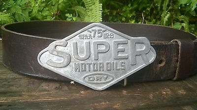 VINTAGE 80's SUPERDRY '75' MOTOR OILS BELT BUCKLE & BELT WITH LOVELY AGED PATINA