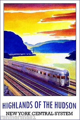 1930s Highlands Hudson New York Vintage Railroad Travel Advertisement Poster