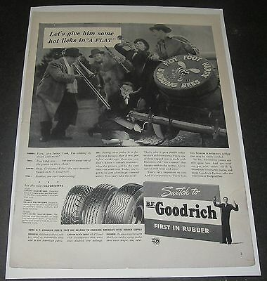 Print Ad 1941 TIRES B.F. Goodrich Rubber Hot Licks in a Flat Happy Bumbling Bees