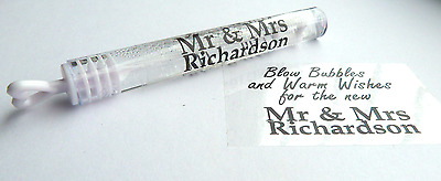 50 Personalised Black Clear Mr & Mrs Wedding Bubble Stickers Table Labels