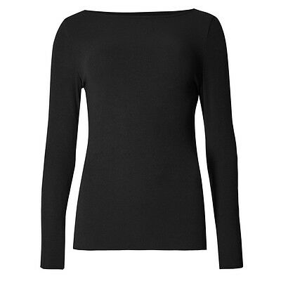 Marks & Spencer Womens Black Heatgen™ Thermal Top New M&S Long Sleeve Round Neck