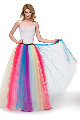 3 Layers 100cm Maxi Long Tulle TUTU Skirt Womens Adult Skirts Wedding Ball Gown