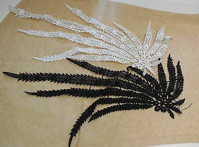 black or off white bridal wedding peacock tail style lace applique / lace motif