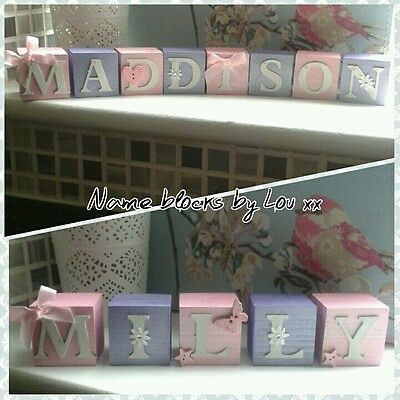 Personalised Baby Name Wooden Letter Blocks.Perfect gift