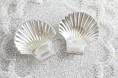 RARE 2 Christofle VENDOME Shell Coquille Silver Small Footed Candy Nut Dishes