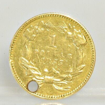 1855 Type 2 Indian Princess $1 Gold - Hole at Top/Jewelry (#6898)