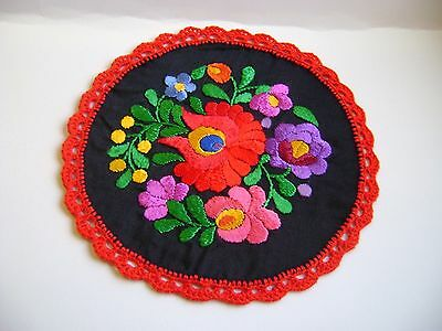 """MATYO traditional HUNGARIAN SILK EMROIDERED small round 7 """" TABLE CLOTH New"""