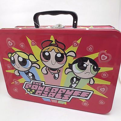 Powerpuff Girls Lunchbox Tin Pink 2000 Box Tote Carrying Case Suitcase Handle