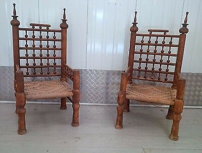 Pair of Pakistani Courtyard / Indian Low Chairs