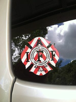 """RED/WHITE IAFF Firefighter Union Chevron Reflective 3M Sticker Decal 4"""""""