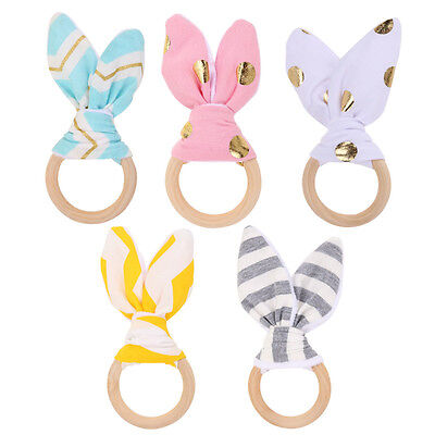 Cute New Wooden Natural Chewie Teether Bunny Sensory Toy Baby Teething Ring