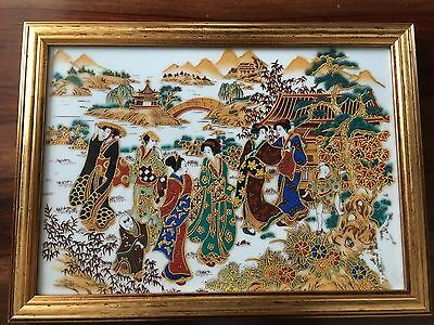 Antique painted glass Chinese  Japanese picture