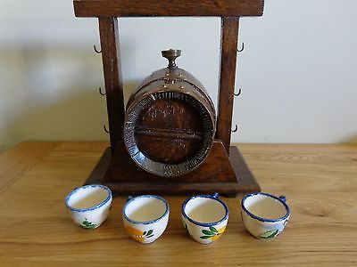 Hand Crafted Collectable Vintage Ornament, Wine Barrel with 4 Ceramic Cups.