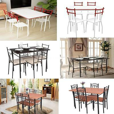 5 Piece Dining Set Table and 4 Chairs Dinette Kitchen Room Breakfast Hot X2V5