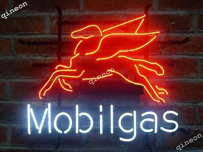 RARE New Style Mobil Gas Fly Pegasus Oil Station Neon Sign Beer Bar Light