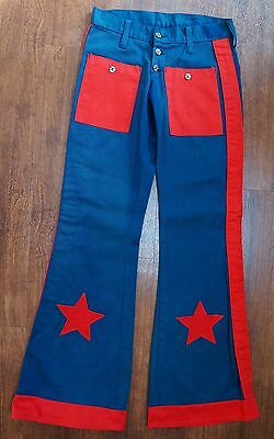 Classic 1970S Blue And Red Flares W26 L32