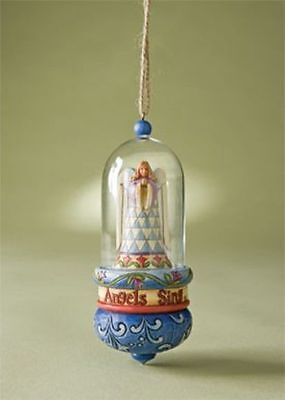 New In Box Angels Sing, Are You Listening! Angel Glass Dome Ornament Jim Shore