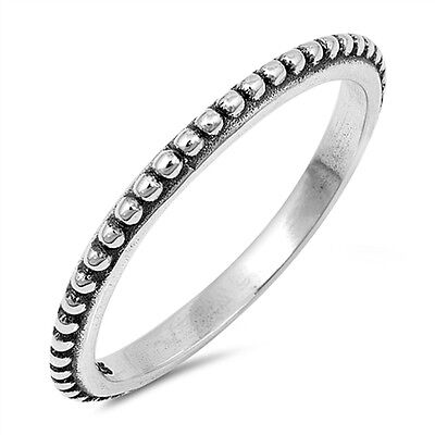 Skinny Oxidised 925 Sterling Silver Bali Bubble Stacking Stacker Band Ring